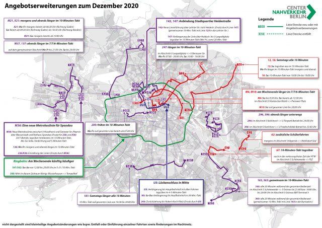Das Bild stellt alle Angebotsmaßnahmen im ÖPNV dar, die zum Dezember 2020 auf den Linien von BVG und S-Bahn Berlin umgesetzt wurden.